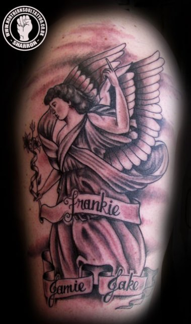 cba4d72a9 St Gabriel Half Sleeve by Sharron – Northern Soul Tattoo, Liverpool