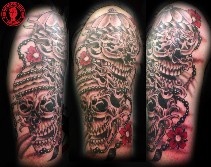Sharron got to complete this skull half sleeve apologies for the phone